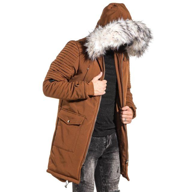 project x manteau parka homme long camel capuche fourrure blanche marron xl pas cher. Black Bedroom Furniture Sets. Home Design Ideas
