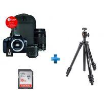 CANON - Appareil photo reflex - 1300D 18-55 + 75-300 + sacoche + Carte 8Go + Trépied Compact Light + Carte SDHC Ultra 16 Go