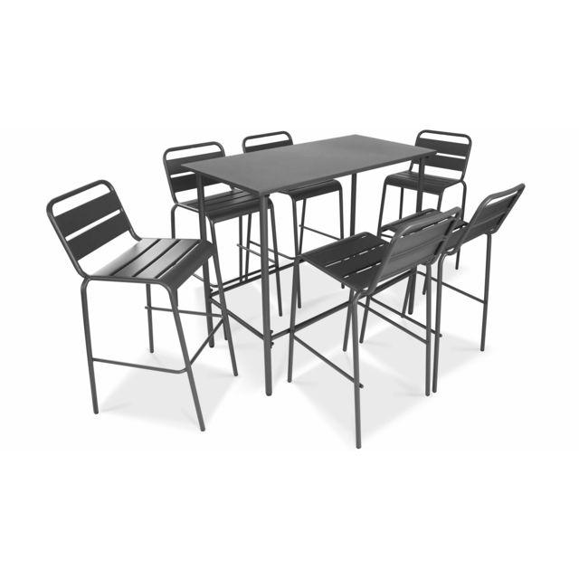 Table haute de jardin et 6 tabourets, Palavas - Gris