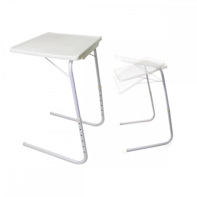 Malatec Table Dappoint Ajustable Pliante Repas Support Pc Blanc