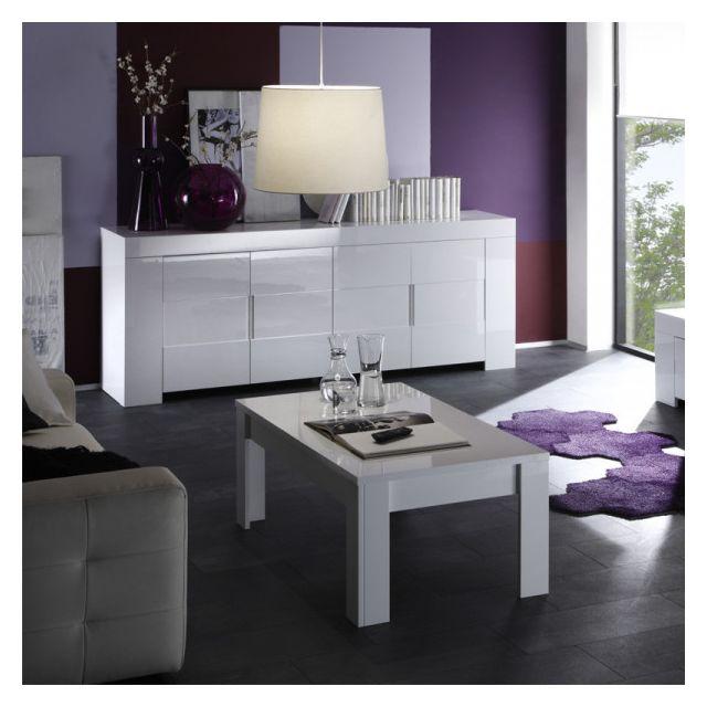 Dansmamaison Table basse laqué Blanc brillant - Fatisca - L 122 x l 65 x H 45 cm