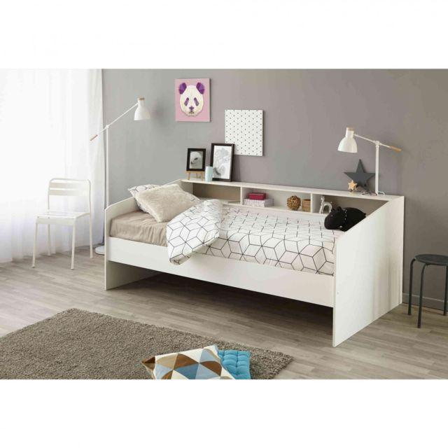 TERRE DE NUIT Lit 90x200 en bois blanc megève - LT1028