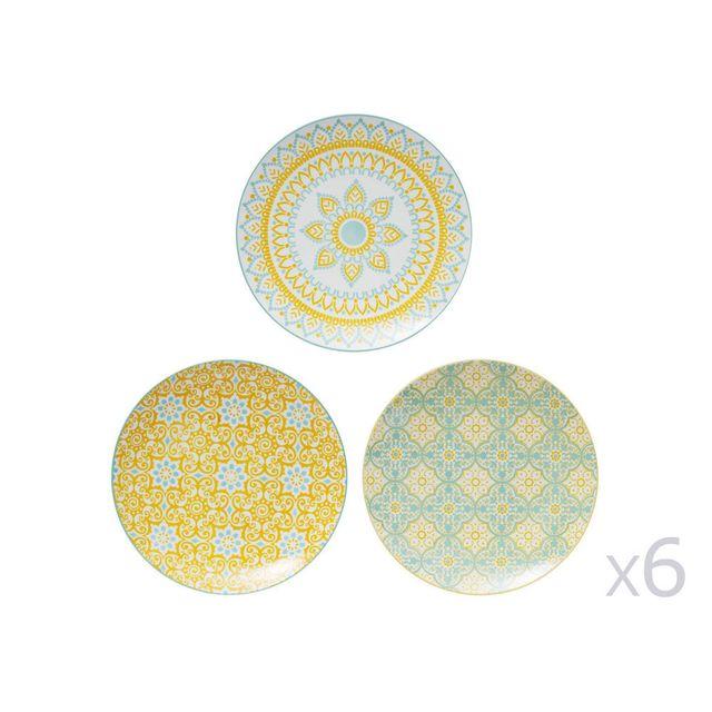 Table Passion - Assiette plate en porcelaine D.27cm motifs assortis jaune / bleu - Lot de 6 pièces Mikado