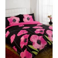 Just Contempo - Parure De Lit Motif Coquelicots, Super King Size Duvet Cover Superking Rose CERISE/ROSE Fuchsia/NOIR/BLANC