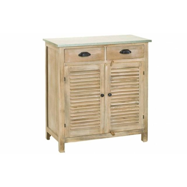 Inside 75 Meuble 2 portes 2 tiroirs Sarah en bois de paulownia style campagne