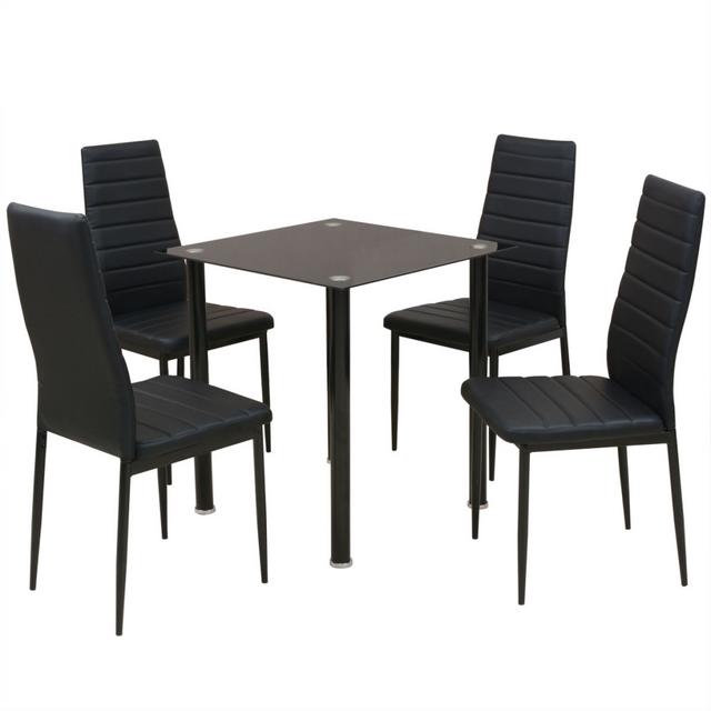 Vidaxl Ensemble table et chaise de salle à manger 5 pièces noir