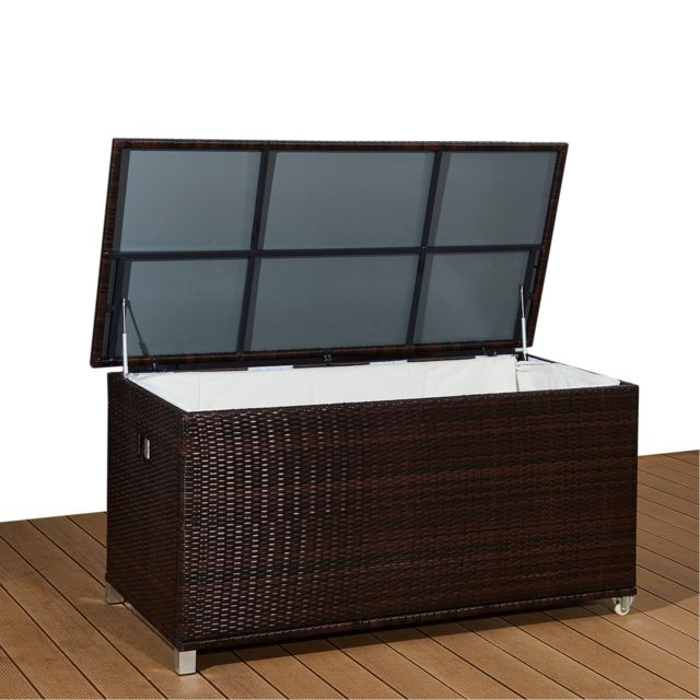 ims garden coffre de jardin aluminium r sine tress e 790l poign e et roulettes marron kuba. Black Bedroom Furniture Sets. Home Design Ideas