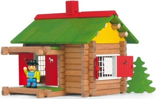 jeujura mon chalet en bois 100 pieces jouet en bois pas cher achat vente briques et. Black Bedroom Furniture Sets. Home Design Ideas