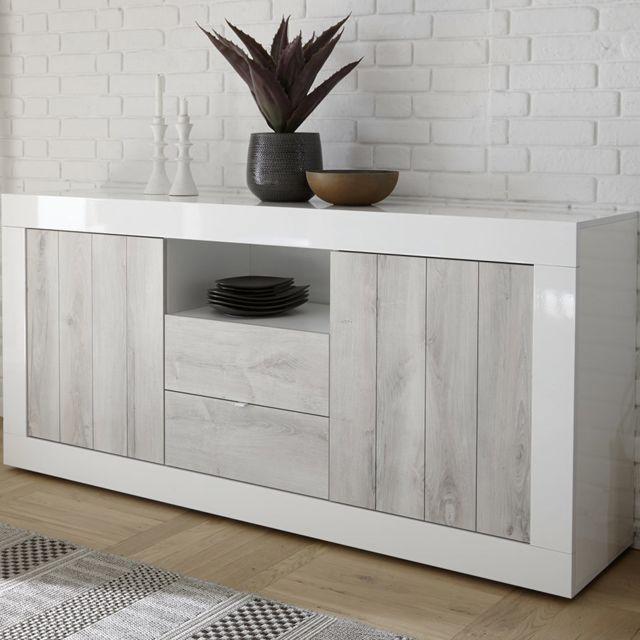 Kasalinea Buffet blanc laqué et couleur pin moderne 180 cm Mabel 3
