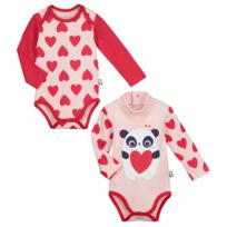 Petit Beguin - Lot de 2 bodies manches longues bébé fille Minilove - Taille  - 12 85c6376f856
