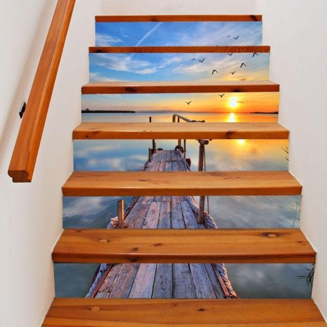 Sticker 6 Pcs Diy Creative Silent Sea Escaliers Autocollant Décoration de  La Maison, Taille: 18 100 cm