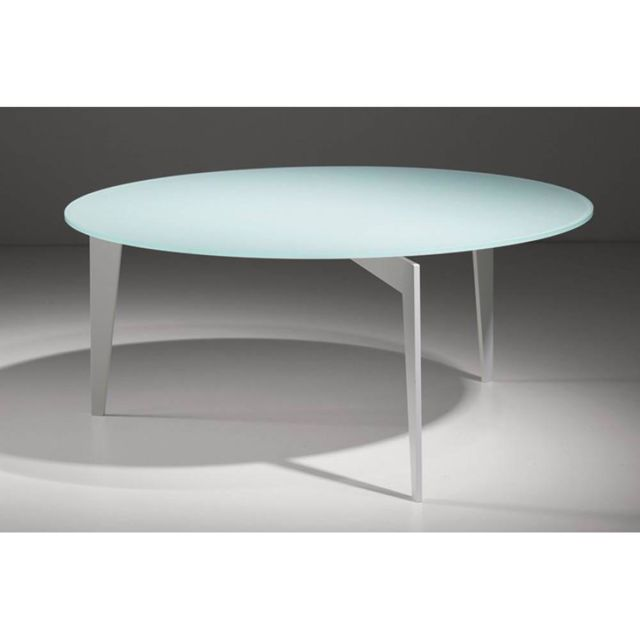 Inside 75 Table basse ronde Miky en verre blanc