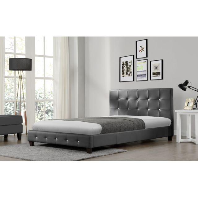 concept usine lit notting hill 140x190cm cadre de lit en simili cuir capitonn gris pas. Black Bedroom Furniture Sets. Home Design Ideas