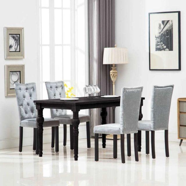 Distingué Fauteuils gamme Mogadiscio Chaise de salle à manger 4 pcs Velours Argenté