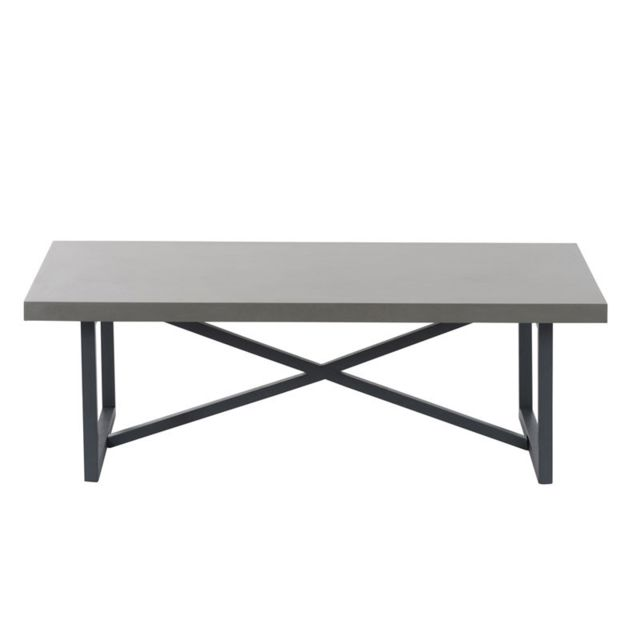 Table Basse Metal Bois Gris Bertolt