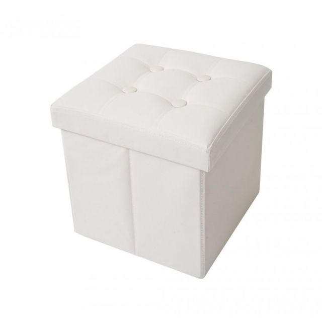 Mobili Rebecca - Pouf Coffre de Rangement Carre Synthétique Blanc  Contemporain Salon Chambre 2dc972639d37