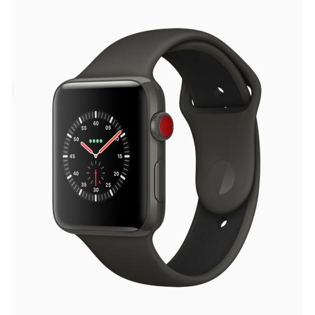 10f3576319feb4 Destockage APPLE Watch Série 3 - 4G GPS + Cellular 38 mm - Aluminium -  boitier Gris Sidéral - bracelet Noir - reconditionné pas cher - Achat    Vente Montre ...