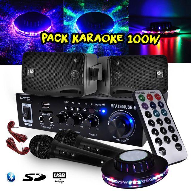 Ltc Audio Karaoke Ampli 100W Bt/SD/USB + 2 Enceintes Hifi 80W + 2 Micros + Jeu de lumière Ovni