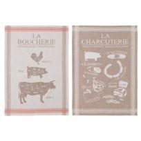 Coucke - Torchon 100% coton charcuterie taupe/rouge 50x75cm - lot de 2 assortis Boucherie