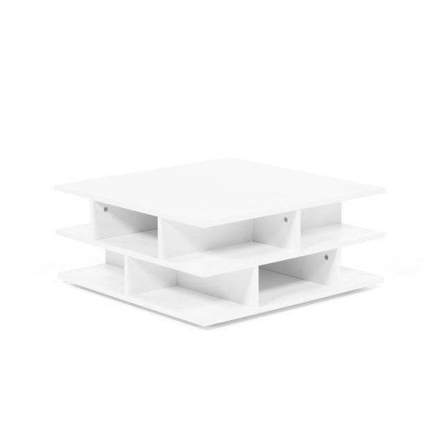 Symbiosis Table basse carrée en bois multicases Tower - Blanc