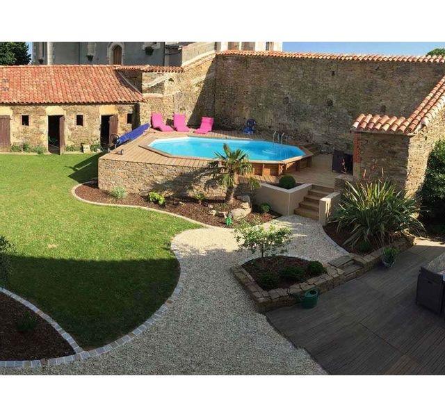 Sunbay piscine bois cannelle 5 51 m x 3 51 m x h 1 19 m couleur liner bleu pas cher - Piscine bois classe 5 ...