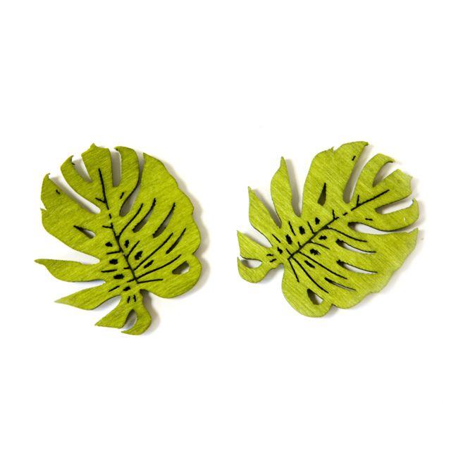 Visiodirect 10 sachets de 10 Confettis feuilles tropicales en Bois en vert - 4 x 3,5 cm