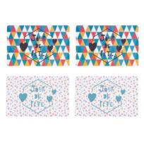 Jardin d'Ulysse - Set de table polypro fleurs/triangles multicolore 43x28cm - Lot de 4 Jour De Fete