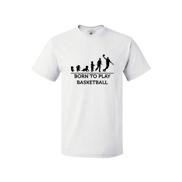8de385537635 Mygoodprice - T-shirt col rond Evolution bébé born to play basket M Blanc