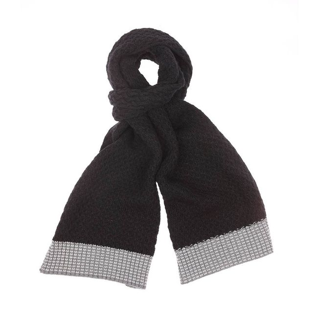 Tbs - Echarpe tricotée Rujcha noire et gris clair en coton et laine - pas  cher Achat   Vente Echarpes, foulards - RueDuCommerce b9efec37b2f