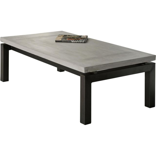 Comforium Table basse design plateau en béton et piètement en acier tube carré 135x70cm