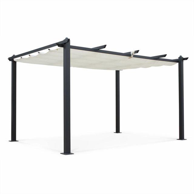 ALICE'S GARDEN Tente de jardin, pergola aluminium 3x4m Condate écru, toile rétractable, toile coulissante, tonnelle abri de terrasse