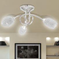 Casasmart - Lustre/ Lampe de Plafond Blanche 3 Abats Jours en Cristal G9