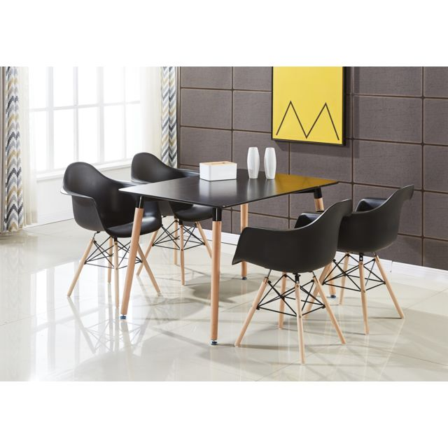 Ensemble Table Noire 4 Chaises