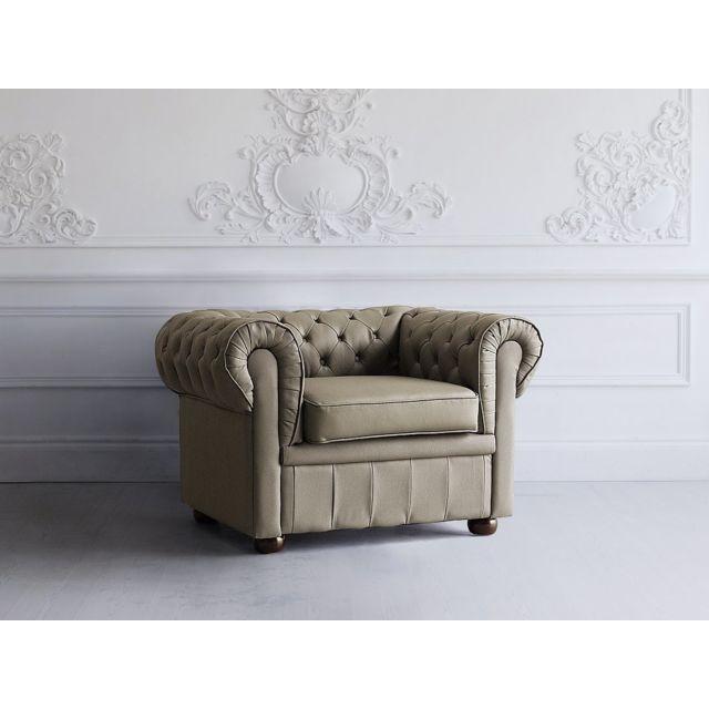 Beliani Fauteuil en cuir gris beige Chesterfield
