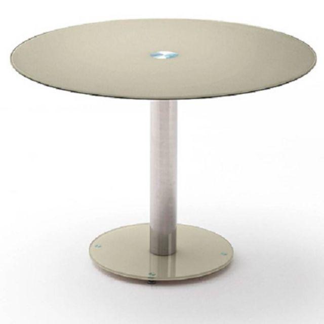 Inside 75 Table repas ronde design Faten en verre taupe