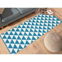 Kaligrafik - Tapis plastique tissé main rendu coton motif triangle bicolore Naveen