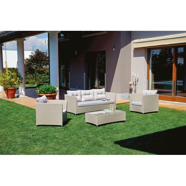 Salon de jardin en aluminium et textilène gris tourterelle