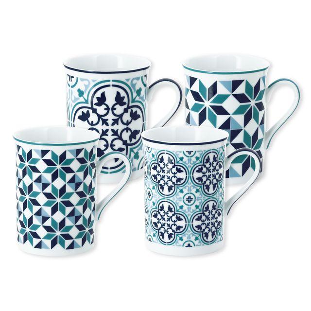 FoncéTurquoise Bleu En Mug 25cl Porcelaine De 4 Coffret dxoCerB