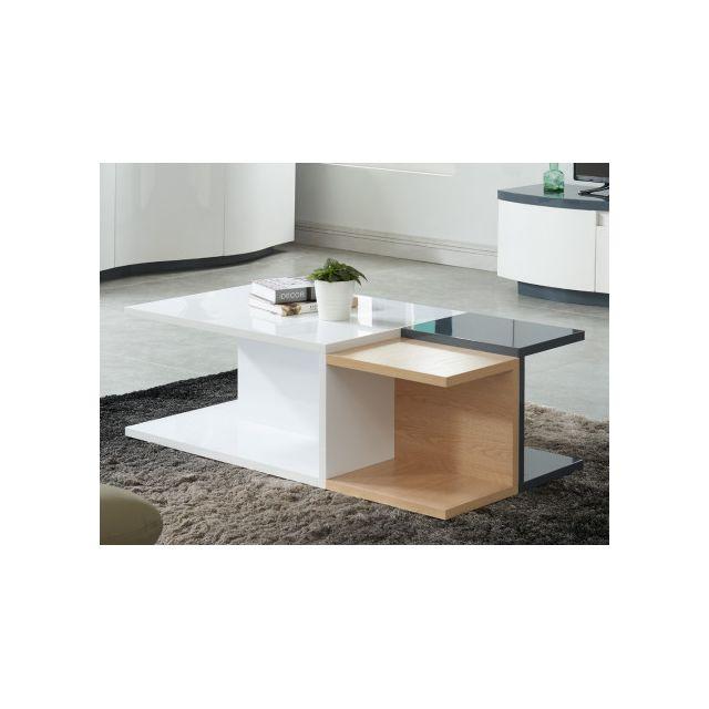 Marque Generique Table Basse Tremia 4 Niches Mdf Laqué Blanc