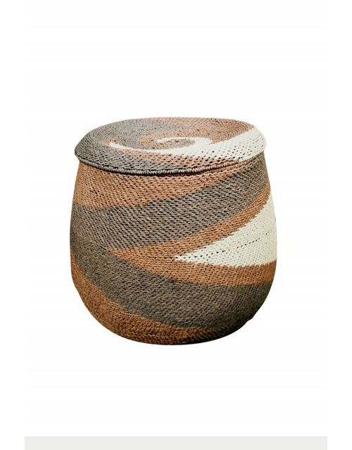 Decoshop - Panier à linge en osier tricolore