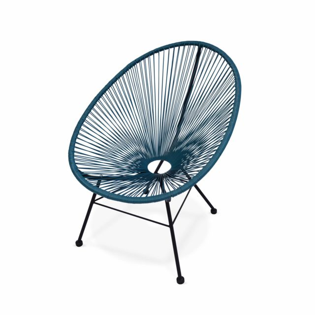 alice 39 s garden fauteuil acapulco chaise oeuf design r tro cordage bleu canard sebpeche31. Black Bedroom Furniture Sets. Home Design Ideas
