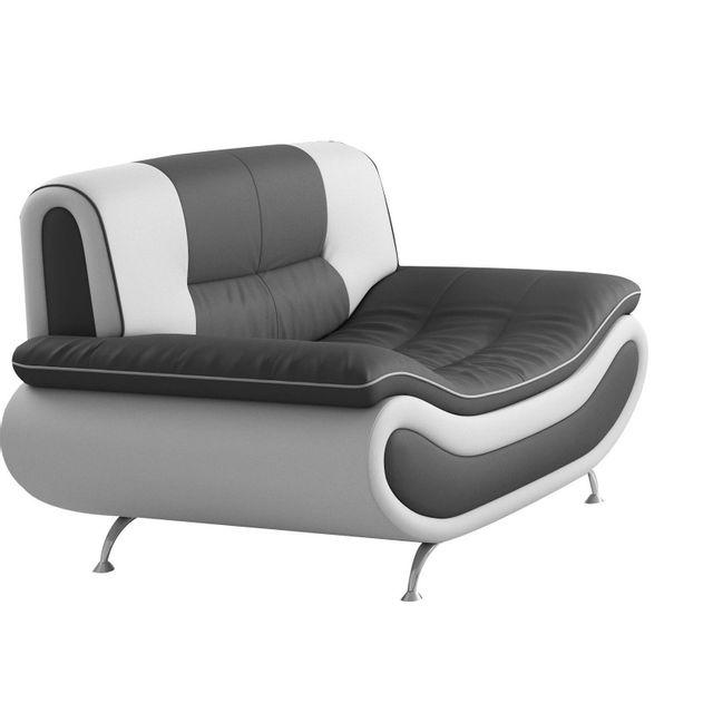 Comforium Fauteuil 1 place design en pvc coloris gris et blanc