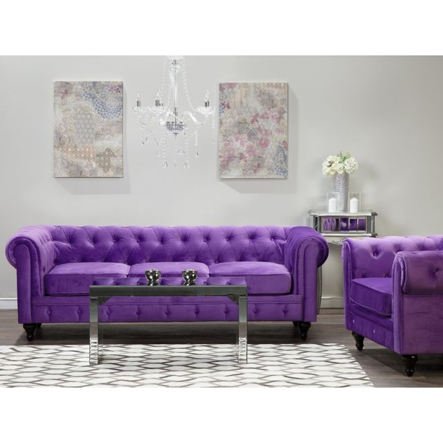 BELIANI Lot canapé fauteuil violet CHESTERFIELD