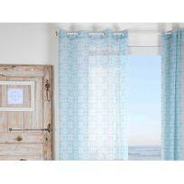 Stof - Voilage à œillets polyester rosace carreau de ciment bleu/blanc 135x260cm Lisboa