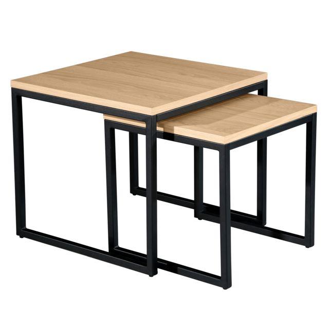 Table basse carrée Kavu lot de 2