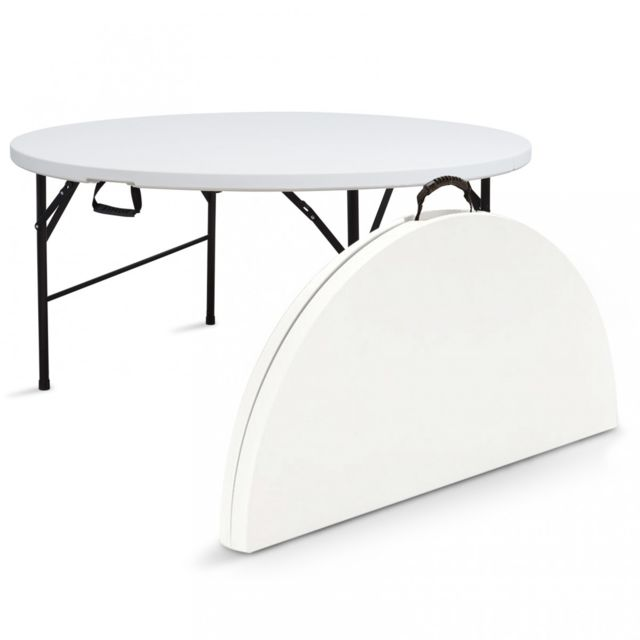 Table pliante de camping ronde 150cm 8 places blanche