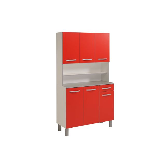 Buffet de cuisine 6 portes 101x42x184cm coloris rouge
