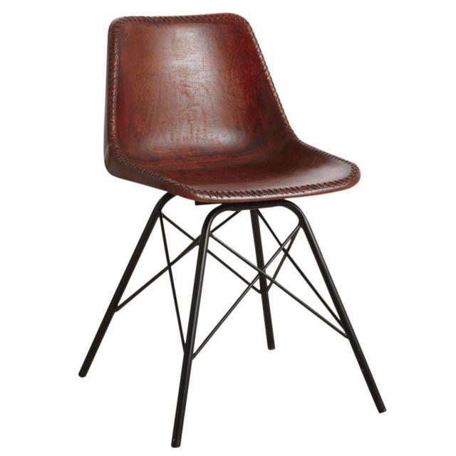 AUBRY GASPARD Chaise en cuir marron et métal