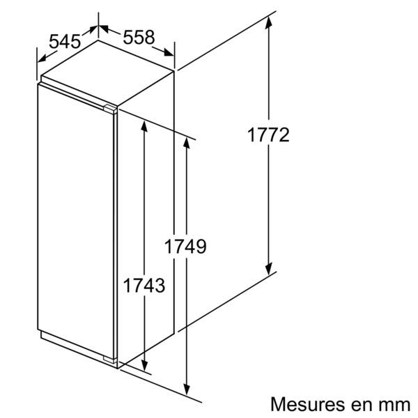réfrigérateur 1 porte intégrable à pantographe 319l a++ - kir81af30