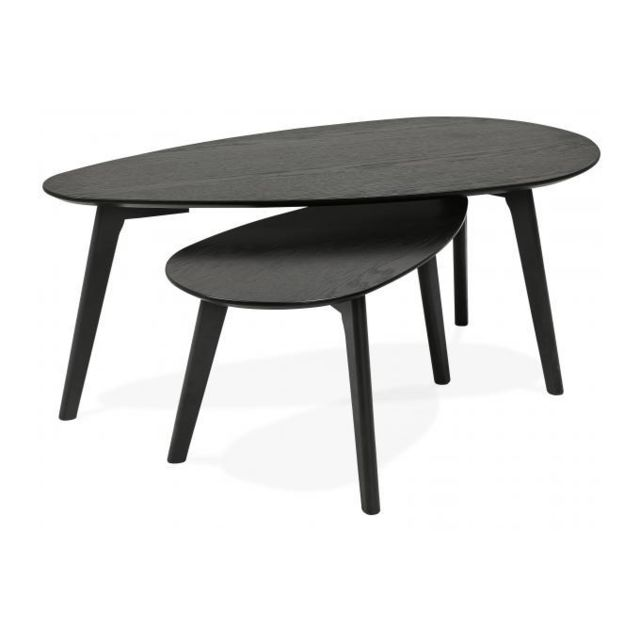 Declikdeco Lot de 2 Tables Basses Gigognes Noir en Chêne Cerf